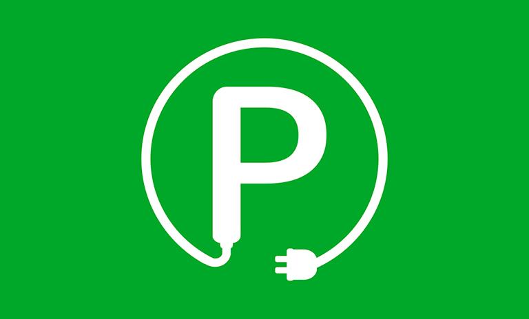 Símbolo de los parqueaderos exclusivos para carros eléctricos