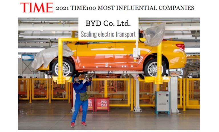 BYD entre las 100 empresas más influyentes del año por la revista TIME